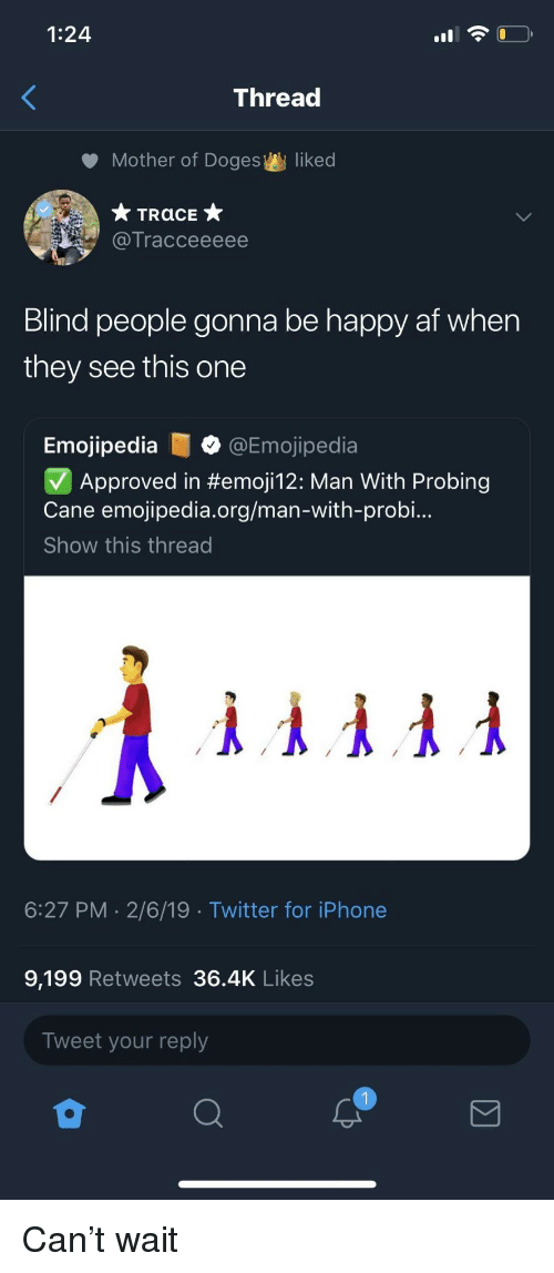 Af, Iphone, and Twitter: 1:24  Thread  Mother of Doges  liked  Tracceeeee  Blind people gonna be happy af when  they see this one  Emojipedia@Emojipedia  Approved in #emoji12: Man With Probing  Cane emojipedia.org/man-with-probi..  Show this thread  6:27 PM 2/6/19 Twitter for iPhone  9,199 Retweets 36.4K Likes  Tweet your reply Can't wait