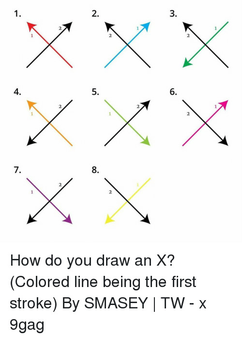 9gag, Memes, and 🤖: 1  3  6  2  2  8  2  2  2  4.  7  1 How do you draw an X?⠀ (Colored line being the first stroke)⠀ By SMASEY | TW⠀ -⠀ x 9gag
