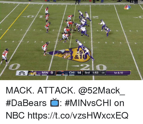Memes, 🤖, and Nbc: &1  31 MIN O  3 CHI 14 3rd 1:53 :08  1st & 10  5-3-1  6-3 MACK. ATTACK. @52Mack_ #DaBears  📺: #MINvsCHI on NBC https://t.co/vzsHWxcxEQ