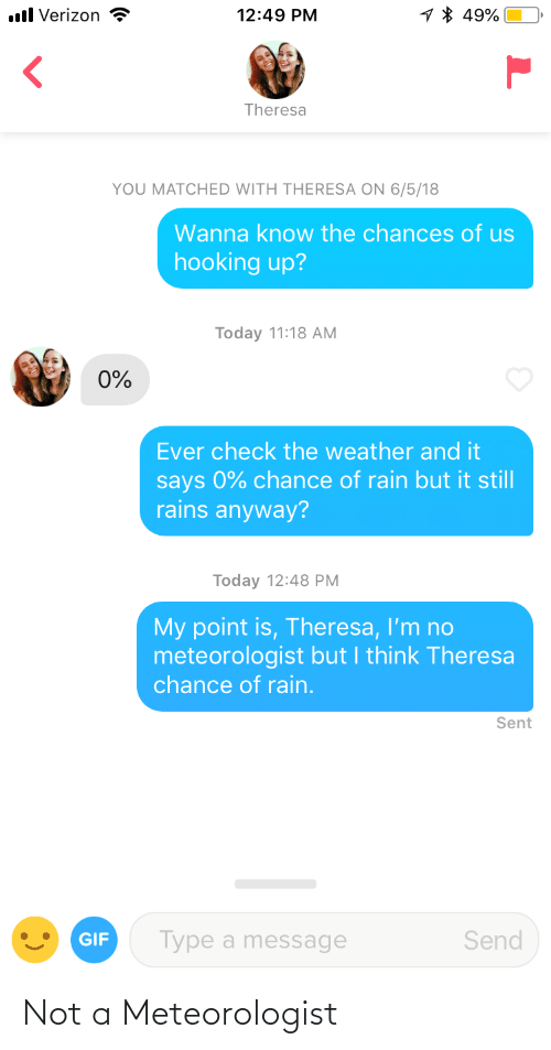 Hooking: 1 * 49%  ll Verizon  12:49 PM  Theresa  YOU MATCHED WITH THERESA ON 6/5/18  Wanna know the chances of us  hooking up?  Today 11:18 AM  0%  Ever check the weather and it  says 0% chance of rain but it still  rains anyway?  Today 12:48 PM  My point is, Theresa, I'm no  meteorologist but I think Theresa  chance of rain.  Sent  Type a message  Send  GIF Not a Meteorologist