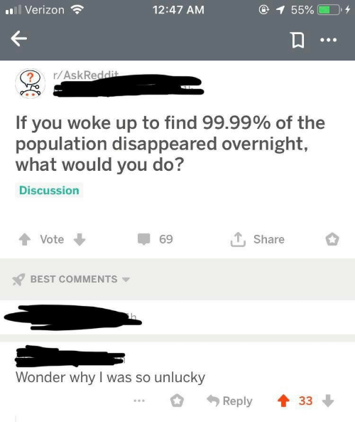 Verizon, Best, and Wonder: 1 55%  Verizon  12:47 AM  r/AskReddit  If you woke up to find 99.99% of the  population disappeared overnight,  what would you do?  Discussion  Vote  69  Share  BEST COMMENTS  Wonder why I was so unlucky  33  Reply