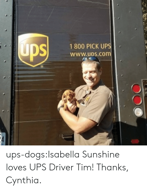 isabella: 1 800 PICK UP  WWw.uDS.CO ups-dogs:Isabella Sunshine loves UPS Driver Tim! Thanks, Cynthia.