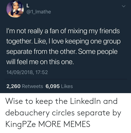 LinkedIn: @1_Imathe  I'm not really a fan of mixing my friends  together. Like, I love keeping one group  separate from the other. Some people  will feel me on this one.  14/09/2018, 17:52  2,260 Retweets 6,095 Likes Wise to keep the LinkedIn and debauchery circles separate by KingPZe MORE MEMES