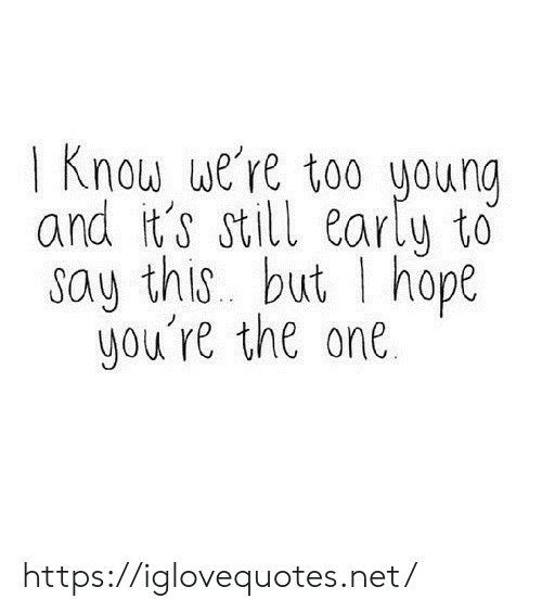 Hope, Net, and One: 1 Know we're too young  and it's still early to  say this but I hope  you're the one https://iglovequotes.net/