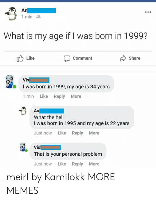 Commenter: 1 min  What is my age if I was born in 1999?  Like  Comment  Share  I was born in 1999, my age is 34 years  1 min Like Reply More  An  What the hell  I was born in 1995 and my age is 22 years  Just now Like Reply More  Vis  That is your personal problem  Just now Like Reply More meirl by Kamilokk MORE MEMES