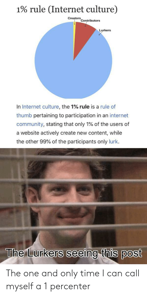 Rule: 1% rule (Internet culture)  Creators  Contributors  Lurkers  In Internet culture, the 1% rule is a rule of  thumb pertaining to participation in an internet  community, stating that only 1% of the users of  a website actively create new content, while  the other 99% of the participants only lurk.  The Lurkers seeing this post The one and only time I can call myself a 1 percenter