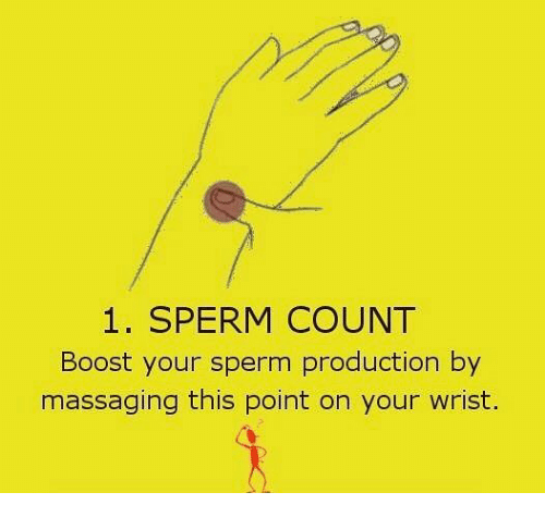 massaging: 1. SPERM COUNT  Boost your sperm production by  massaging this point on your wrist