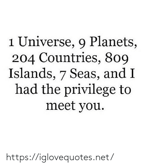 Planets: 1 Universe, 9 Planets,  204 Countries, 809  Islands, 7 Seas, and I  had the privilege to  meet you. https://iglovequotes.net/