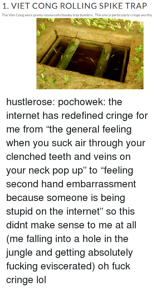 """Fucking, Internet, and Lol: 1. VIET CONG ROLLING SPIKE TRAP  The Viet Cong were pretty resourceful booby trap builders. This one is particularly cringe worthy hustlerose: pochowek: the internet has redefined cringe for me from""""the general feeling when you suck air through your clenched teeth and veins on your neck pop up"""" to""""feeling second hand embarrassment because someone is being stupid on the internet"""" so this didnt make sense to me at all (me falling into a hole in the jungle and getting absolutely fucking eviscerated) oh fuck cringe lol"""