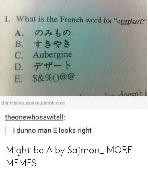 """eggplant: 1. What is the French word for """"eggplant?""""  L6  A.のみもの  B.すきやき  C. Aubergine  D.デザート  E. $&%()@@  esnt  thathilariousasian.tumblr.com  theonewhosawitall:  i dunno man E looks right Might be A by Sajmon_ MORE MEMES"""
