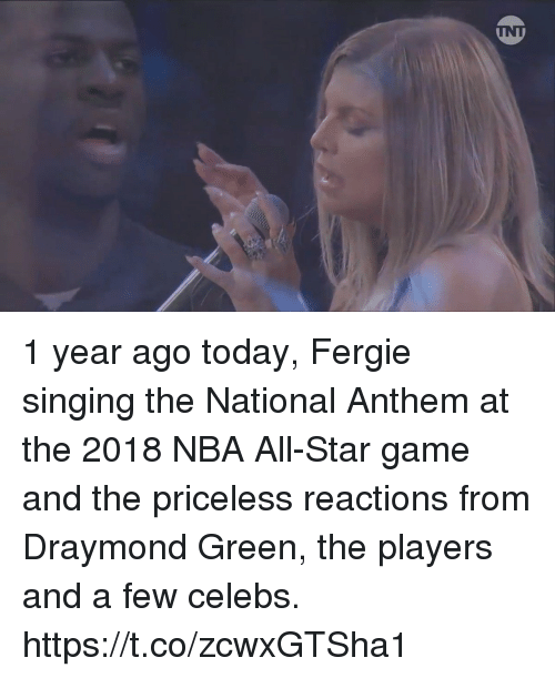 All Star Game: 1 year ago today, Fergie singing the National Anthem at the 2018 NBA All-Star game and the priceless reactions from Draymond Green, the players and a few celebs. https://t.co/zcwxGTSha1