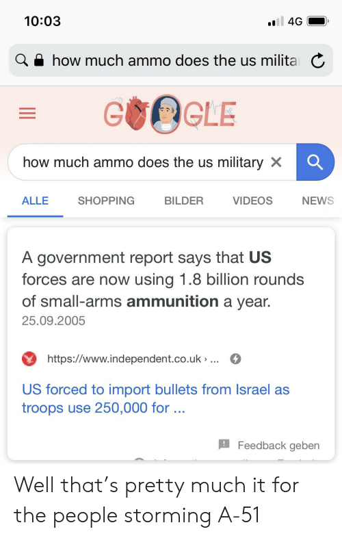 News, Reddit, and Shopping: 10:03  all 4G  ahow much ammo does the us militaC  GUCLE  how much ammo does the us military X  ALLE  SHOPPING  VIDEOS  NEWS  BILDER  A government report says that US  forces are now using 1.8 billion rounds  of small-arms ammunition a year.  25.09.2005  https://www.independent.co.uk » ..  US forced to import bullets from Israel as  troops use 250,000 for...  Feedback geben Well that's pretty much it for the people storming A-51