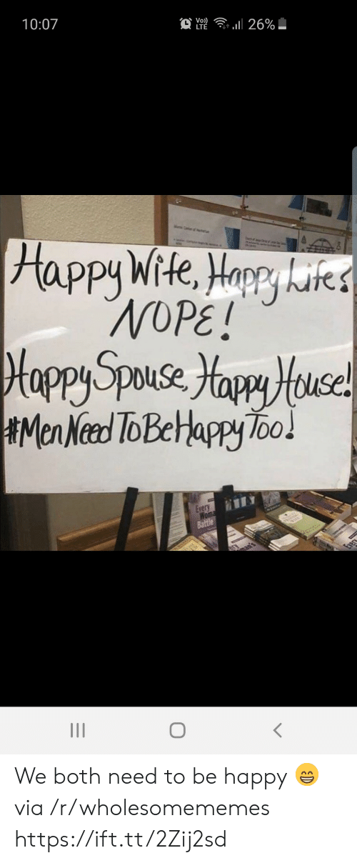 Happy, Nope, and Be Happy: 10:07  Vo)  LTE  . 26%  Happy Wite, Horry kites  NOPE!  Hoppy Speese Yapy Huce!  Men Need ToBelappy Too!  Every  Wom  Battle  Evec We both need to be happy 😁 via /r/wholesomememes https://ift.tt/2Zij2sd
