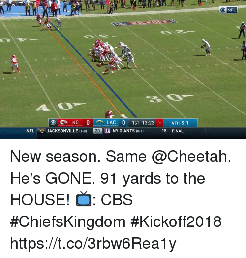 Ny Giants: 10  20  O NFL  4O  en KC O  LAC O 1ST 13:23 5  nu NY GIANTS 10-1)  4TH & 1  NFLJACKSONVILLE (1-0)  20  15 FINAL New season. Same @Cheetah.  He's GONE. 91 yards to the HOUSE!  📺: CBS #ChiefsKingdom #Kickoff2018 https://t.co/3rbw6Rea1y