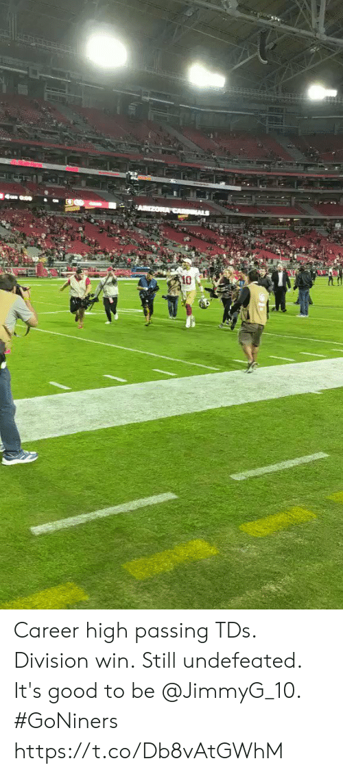 Memes, Good, and Undefeated: 10 Career high passing TDs. Division win. Still undefeated.  It's good to be @JimmyG_10. #GoNiners https://t.co/Db8vAtGWhM
