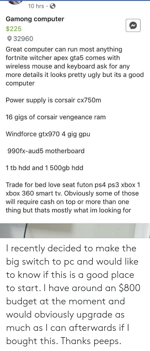 10 Hrs Gamong Computer $225 32960 Great Computer Can Run Most