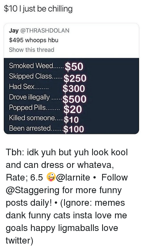 Anaconda, Cats, and Dank: $10 I just be chilling  Jay @THRASHDOLAN  $495 whoops hbu  Show this thread  Smoked Weed.... $50  Skipped Class$250  Had Sex $300  Drove illegally$500  Popped Pills.. $20  Killed someone.... $10  Been arrested.$100 Tbh: idk yuh but yuh look kool and can dress or whateva, Rate; 6.5 🤪@larnite • ➫➫➫ Follow @Staggering for more funny posts daily! • (Ignore: memes dank funny cats insta love me goals happy ligmaballs love twitter)