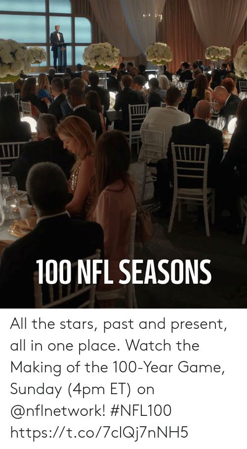 The 100: 100 NFL SEASONS All the stars, past and present, all in one place.  Watch the Making of the 100-Year Game, Sunday (4pm ET) on @nflnetwork! #NFL100 https://t.co/7cIQj7nNH5
