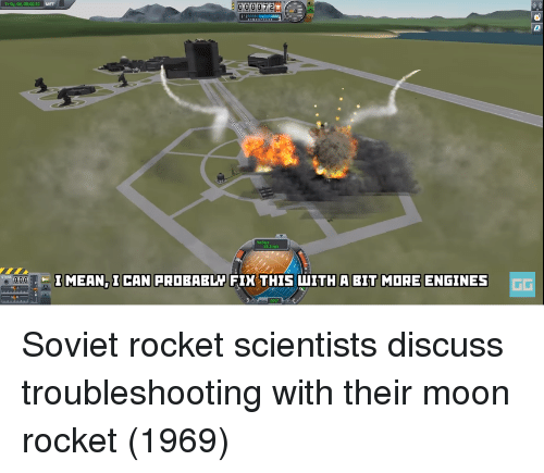 engines: 1000  I MEAN, ICAN FRDBABL FIK THIS WITH A BIT MORE ENGINES  rD Soviet rocket scientists discuss troubleshooting with their moon rocket (1969)