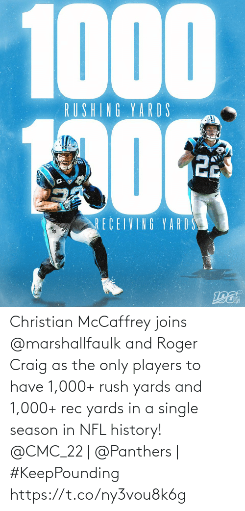 A Single: 1000  RUSHING YARDS  22  RECEIVING YARD S Christian McCaffrey joins @marshallfaulk and Roger Craig as the only players to have 1,000+ rush yards and 1,000+ rec yards in a single season in NFL history!  @CMC_22 | @Panthers | #KeepPounding https://t.co/ny3vou8k6g