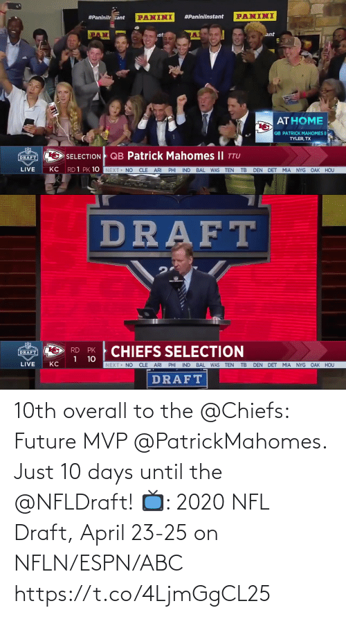 NFL draft: 10th overall to the @Chiefs: Future MVP @PatrickMahomes.   Just 10 days until the @NFLDraft!  📺: 2020 NFL Draft, April 23-25 on NFLN/ESPN/ABC https://t.co/4LjmGgCL25