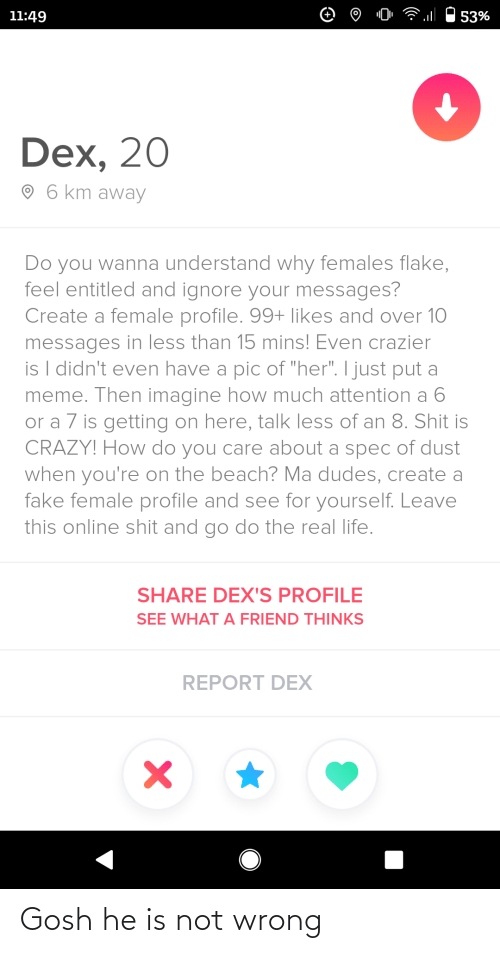 "shit: 11:49  53%  Dex, 20  O 6 km away  Do you wanna understand why females flake,  feel entitled and ignore your messages?  Create a female profile. 99+ likes and over 10  messages in less than 15 mins! Even crazier  is I didn't even have a pic of ""her"". I just put a  meme. Then imagine how much attention a 6  or a 7 is getting on here, talk less of an 8. Shit is  CRAZY! How do you care about a spec of dust  when you're on the beach? Ma dudes, create a  fake female profile and see for yourself. Leave  this online shit and go do the real life.  SHARE DEX'S PROFILE  SEE WHAT A FRIEND THINKS  REPORT DEX Gosh he is not wrong"