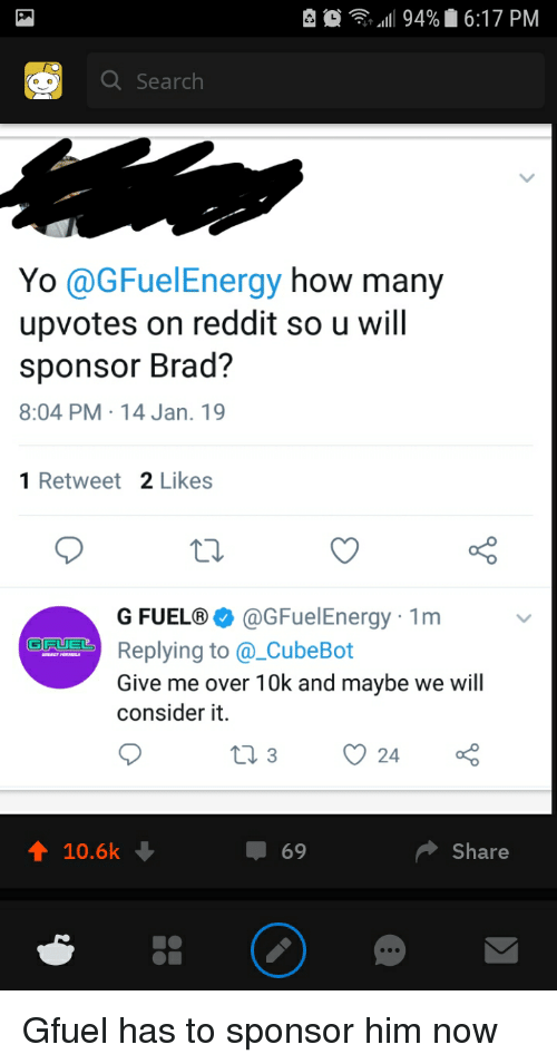 11 94% 617 PM Q Search Yo GFuelEnergy How Many Upvotes on