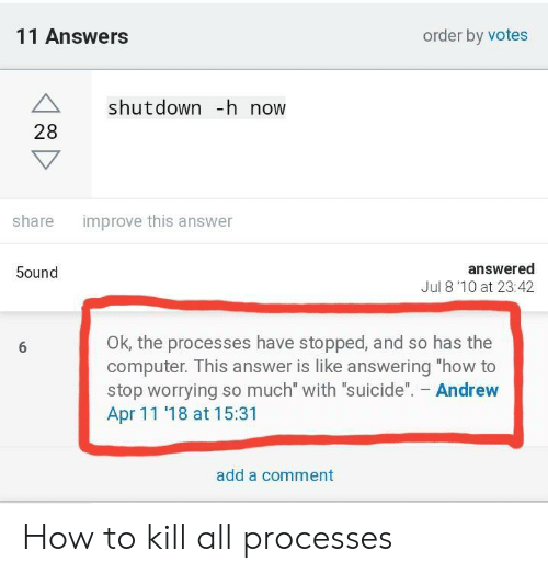 """Shutdown: 11 Answers  order by votes  A shutdown -h now  28  improve this answer  share  answered  Jul 8'10 at 23:42  5ound  OK, the processes have stopped, and so has the  computer. This answer is like answering """"how to  stop worrying so much"""" with """"suicide"""". Andrew  Apr 11 '18 at 15:31  add a comment How to kill all processes"""