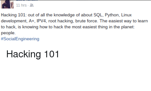 11 Hrs Hacking 101 Out of All the Knowledge of About SQL Python