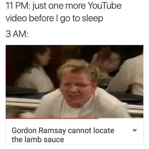Locate The Lamb Sauce: 11 PM: just one more YouTube  video before I go to sleep  3 AM:  Gordon Ramsay cannot locate  the lamb sauce