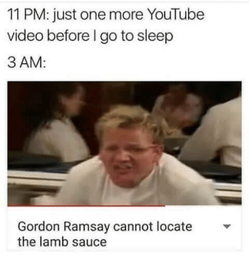 Lamb Sauce: 11 PM: just one more YouTube  video before l go to sleep  3 AM  Gordon Ramsay cannot locate  the lamb sauce