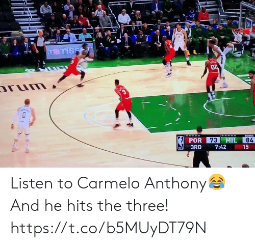 Bonus: 11  TTISS  LUC  00  rum  3  73 MIL  BONUS  POR  84  3RD  7:42  15  ( Listen to Carmelo Anthony😂  And he hits the three!  https://t.co/b5MUyDT79N