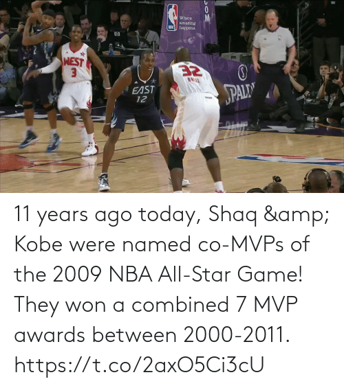 nba all star: 11 years ago today, Shaq & Kobe were named co-MVPs of the 2009 NBA All-Star Game!   They won a combined 7 MVP awards between 2000-2011.  https://t.co/2axO5Ci3cU