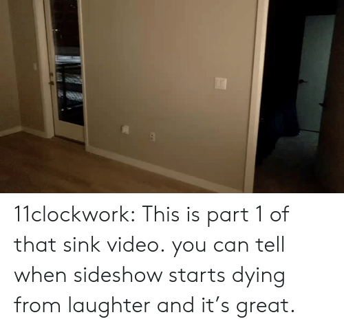 Tumblr, Blog, and Video: 11clockwork: This is part 1 of that sink video.  you can tell when sideshow starts dying from laughter and it's great.