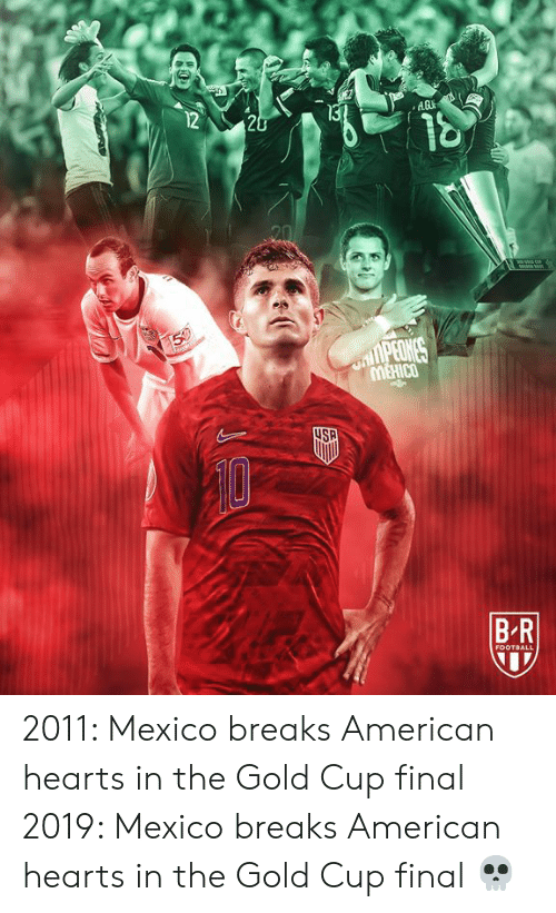 Football, American, and Gold Cup: 12  13  20  20  50  nlPEONCS  4SA  B R  FOOTBALL 2011: Mexico breaks American hearts in the Gold Cup final  2019: Mexico breaks American hearts in the Gold Cup final  💀