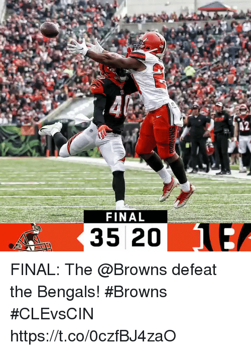 Memes, Bengals, and Browns: 12  FINAL  35 20 FINAL: The @Browns defeat the Bengals! #Browns  #CLEvsCIN https://t.co/0czfBJ4zaO