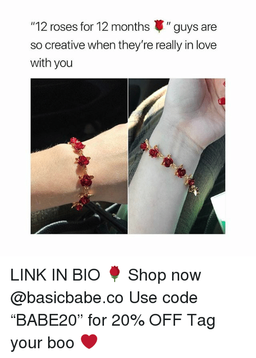 "Boo, Love, and Link: ""12 roses for 12 months "" guys are  so creative when they're really in love  with you LINK IN BIO 🌹 Shop now @basicbabe.co Use code ""BABE20"" for 20% OFF Tag your boo ❤️"