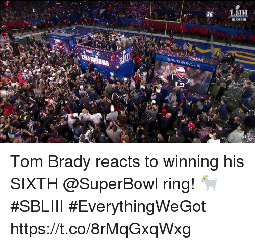 Memes, Super Bowl, and Tom Brady: 12  SUPER BOWL Ll)  ih Tom Brady reacts to winning his SIXTH @SuperBowl ring! 🐐  #SBLIII #EverythingWeGot https://t.co/8rMqGxqWxg