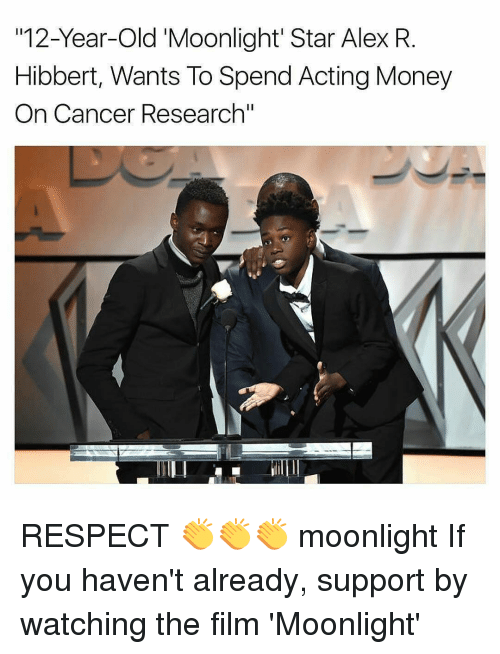 "cancer research: 12-Year-old Moonlight Star Alex R  Hibbert, Wants To Spend Acting Money  On Cancer Research"" RESPECT 👏👏👏 moonlight If you haven't already, support by watching the film 'Moonlight'"