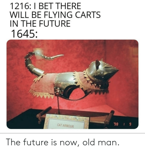 carts: 1216: I BET THERE  WILL BE FLYING CARTS  IN THE FUTURE  1645  CAT ARMOUR  6 86 The future is now, old man.
