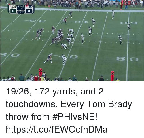 Memes, Tom Brady, and Brady: 13:49  0  1ST & 10  21  0 19/26, 172 yards, and 2 touchdowns.  Every Tom Brady throw from #PHIvsNE! https://t.co/fEWOcfnDMa