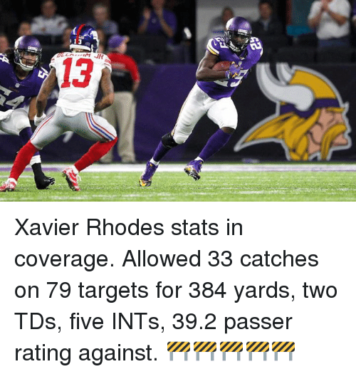 Memes, Target, and 🤖: 13  JR  13 Xavier Rhodes stats in coverage. Allowed 33 catches on 79 targets for 384 yards, two TDs, five INTs, 39.2 passer rating against. 🚧🚧🚧🚧🚧