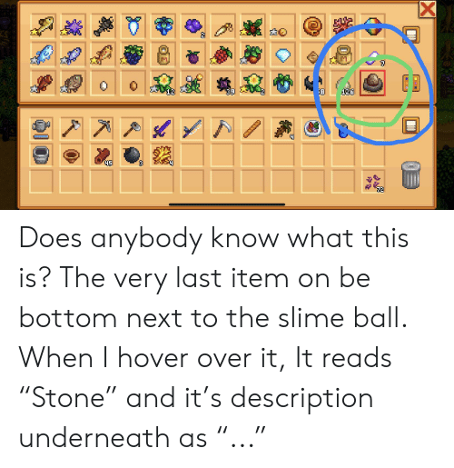 """Next, Slime, and Ball: 136  t Does anybody know what this is? The very last item on be bottom next to the slime ball. When I hover over it, It reads """"Stone"""" and it's description underneath as """"..."""""""