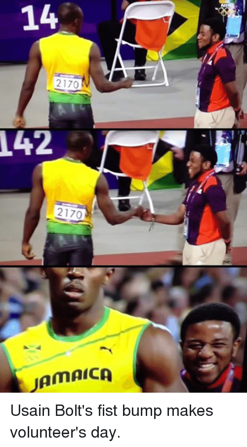 Fist Bumping: 14  2170  T42  2170  JAMAICA Usain Bolt's fist bump makes volunteer's day.