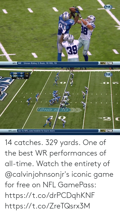 one of the best: 14 catches. 329 yards. One of the best WR performances of all-time.  Watch the entirety of @calvinjohnsonjr's iconic game for free on NFL GamePass: https://t.co/drPCDqhKNF https://t.co/ZreTQsrx3M