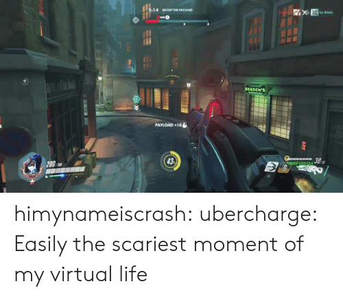 escort: :14 EScoRT THE PAYIOAD  cy Blade  PAYLOAD +10  43 himynameiscrash:  ubercharge:    Easily the scariest moment of my virtual life