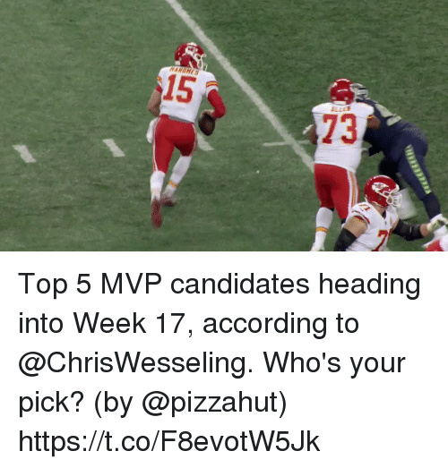 Memes, Pizzahut, and According: 15  73 Top 5 MVP candidates heading into Week 17, according to @ChrisWesseling.  Who's your pick?  (by @pizzahut) https://t.co/F8evotW5Jk