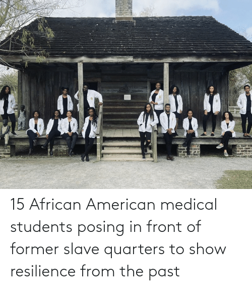 Medical Students: 15 African American medical students posing in front of former slave quarters to show resilience from the past