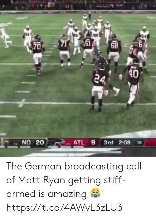 stiff: 151  68  70  40  24  3rd 2:08 6  ATL 9  NO 20 The German broadcasting call of Matt Ryan getting stiff-armed is amazing 😂 https://t.co/4AWvL3zLU3