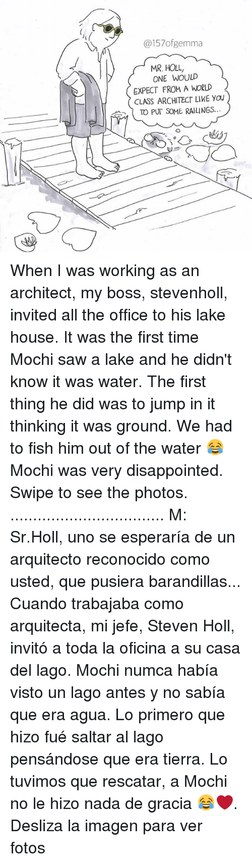 mochi: @157ofgemma  MR. HOLL,  ONE WOULD  EXPECT FROM A WORLD  CLASS ARCHITECT LIKE YOU  ( TO PUT SOME RAILINGS  c曲 When I was working as an architect, my boss, stevenholl, invited all the office to his lake house. It was the first time Mochi saw a lake and he didn't know it was water. The first thing he did was to jump in it thinking it was ground. We had to fish him out of the water 😂 Mochi was very disappointed. Swipe to see the photos. .................................. M: Sr.Holl, uno se esperaría de un arquitecto reconocido como usted, que pusiera barandillas... Cuando trabajaba como arquitecta, mi jefe, Steven Holl, invitó a toda la oficina a su casa del lago. Mochi numca había visto un lago antes y no sabía que era agua. Lo primero que hizo fué saltar al lago pensándose que era tierra. Lo tuvimos que rescatar, a Mochi no le hizo nada de gracia 😂❤️. Desliza la imagen para ver fotos
